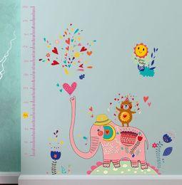 Cartoon Stick Wall NZ - SK9036 Cute Elephant Fountain Height Stickers Nursery Cartoon Vinyl Decals Children's Room Home Decorative Wall Stickers