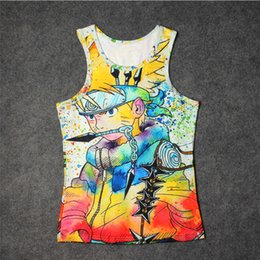 Teen Sexy Pas Cher-Vente en gros- Hot Unique Naruto Painting Anime Full 3D Print Tank Tops Kids Mens Undershirt Adulte coton Tee Loose Unisex Garment