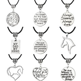 Best Wedding Pendant Australia - Best gift Gothic dad mom fashion simple family leather pendant necklace Christmas gift WFN021 (with chain) mix order 20 pieces a lot