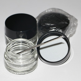 Glasses Storage Australia - In stock clear dab wax oil glass container jars cylindrical small glass food container 5ml concentrate glass storage jar with black lid