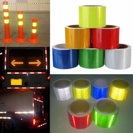 Wholesale Car Stickers Canada - Reflective Safety Warning Tape Multi Colors For Car Truck Bus Motorcycle Stickers Stripe Safety Label Warning Strip Lattice 3m*5cm