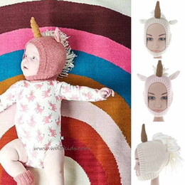 Volets Chapeaux Enfants Pas Cher-Tout-petits Unicorn Ear Flap Crochet Hat Enfant bébé Crochet Hat mignon Unicorn Kids Hand Knitted Hat garçon ou fille