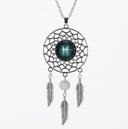 Zodiac pendants for men online zodiac pendants for men for sale zodiac signs feather dreamcatcher necklaces glass cabochon necklaces fashion 12 constellation necklaces for women men jewelry aloadofball Image collections