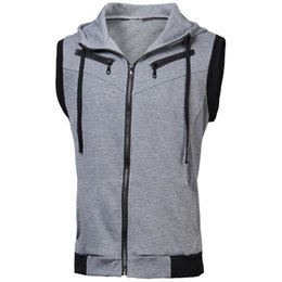 Maillot De Survêtement Maillot À Capuche Pas Cher-Vente en gros- Sudaderas Hombre 2016 Hommes Mode sans manches Casual Slim Hooded Tracksuit Zipper Sweatshirts Solid Plus Size Vest Tops