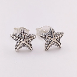 Gold earrinGs style online shopping - Authentic Sterling Silver Studs Tropical Starfish Stud Earrings Fits European Pandora Style Studs Jewelry CZ