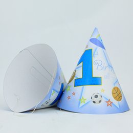 Wholesale Happy Birthday Hats 1 Year Old Caps With Strings Children Party Kids Supplies Favor Cartoon Character 18 Pcs Lot