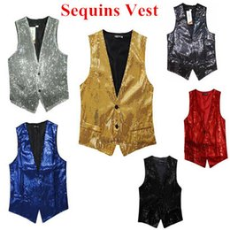 Wholesale red suit gold vest for sale - Group buy new New Fashion Leisure Men Vests suits slim Sequins gold red black White gray blue Dj stage