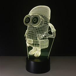 minion lamps Australia - 3D Minions Illusion Lamp Night Light DC 5V USB Charging 5th Battery Wholesale Dropshipping Free Shipping Retail Box