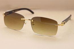 0af1799e88 Vintage Rectangle Black Buffalo Horn Glasses Sunglasses Men Sun Glasses  Rimless Real Nature Horn Sun Glasses 8200759 Top Quality 60-18-140mm