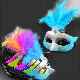 Discount female costume face mask - Party Mask Woman Female Masquerade Masks Luxury Peacock Feathers Half Face Mask Party Cosplay Costume Halloween Venetian