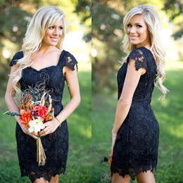 $enCountryForm.capitalKeyWord Canada - Western Country Style Short Black Bridesmaid Dresses 2017 Full Lace Cap Sleeves Sexy Low Back Maid Of Honor Short Red Cocktail Party Gowns