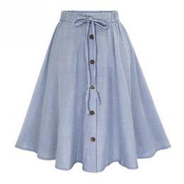 Midi Skirt 2017 Summer Women Clothing High Waist Pleated A Line Skater  Vintage Casual Knee Length Saia Petticoat 62fab5d91