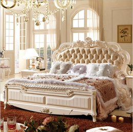 Beds Leather NZ - factory price king size leather modern european solid wood bed Fashion Carved bed french bedroom furniture 10101