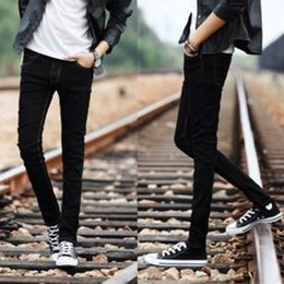 Handsome Boys Hot Canada - Hot Style Boys Slim Fit Jeans Teenagers Thin Denim Solid Casual Cheap Black Bottoms Cuffed Strech Handsome Harem Pants 28-34