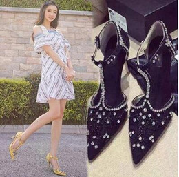 $enCountryForm.capitalKeyWord Canada - 2017 women point toe dimond pumps flock leather T strap pumps thin heel party shoes lady rhinestone high heels sexy dress shoes