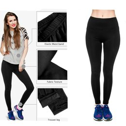 Leggings Élastiques Brillant Noir Pas Cher-2017 Fashion Elastic High Waist Solid Black Shiny New Mujer Pantalon de jambières spéciales pour femme Sexy Leggings Fitness Soft Leggings Girls