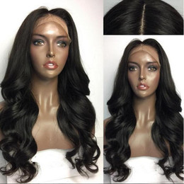Front Wigs Canada - Large Stock Human Hair Full Wigs Black Color 20inch Middle Part Loose Wave Lace Front Wig Free Shipping