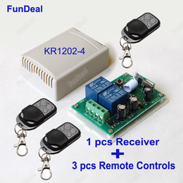$enCountryForm.capitalKeyWord Canada - Wholesale- 433Mhz Universal Wireless Remote Control Switch DC 12V 2CH Relay Receiver Module And 3pcs RF Transmitter 433 Mhz Remote Controls