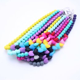 free teething necklace NZ - 100% BPA Free Food Grade Silicone Baby Chew Teething Necklace DIY Heart Colorful Nursing Jewelry Teether for Mom Mommy to Wear