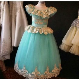 Robes Pour Bébé Bleu Pas Cher-Lace Appliques Bleu Applique Jewel Pageant Robes 2017 étage Longueur sans manches A-ligne Peplum Layers Jupe Flower Girl 'Robes