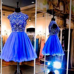$enCountryForm.capitalKeyWord Canada - Bling Sparkly Royal Blue Mini Short Homecoming Dresses 2020 New High Neck Cap Sleeve Crystal Beaded Tulle Short Cocktail Graduation Dress