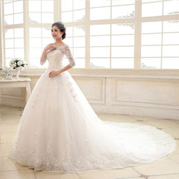Barato Beaded Bateau Vestido De Manga Comprida-2017 Lace Wedding Dresses Crystal Bateau Frisado 3/4 mangas Bridal Gowns A linha de trem longo Plus Size Lace-up Sheer Sleeves Wedding Gowns