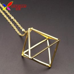Discount gold cube pendant necklace Wholesale-2016 Hot Cube Pendants Fashion Gold Silver Black Copper 3D Geometric Long False Collar Necklace For Women Jewe