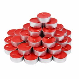 candles for party decoration UK - 50pcs set Environmental Friendly Round Shape Aluminum Shell Candles Wedding Party Holiday Decoration Candles For 4 Hours