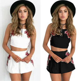 Robes Courtes En Mousseline De Soie Florale D'été Pas Cher-Womens Mini Short Dress Deux Pieces Bodycon 2Pcs Romper Chiffon Crop Tops Shorts Blouse Jumpsuit Summer Clothes Outfits Clubwear Trouser