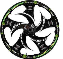Nuevo 17 '' - 19 '' Rueda La llama Etiqueta engomada reflexiva del borde de la motocicleta del coche, etiqueta engomada del neumático de la rueda del coche de motoycycle Etiqueta reflexiva de la llanta