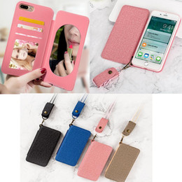 Discount phone back holder - Phone Case for Iphone X 8 6 6s 7 plus S8 Plus Cell Phone Leather Back Cover TPU case Acrylic Mirror design Wallet Cell P