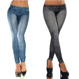 Ceintures Élastiques Pour Jeans Pour Femmes Pas Cher-Vente en gros - Sexy Fashion Womens Autumn Winter Jeans Skinny Leggings Mid Waist Seamless Stretchy Slim Elastic Ankle-Length Pencil Calabres