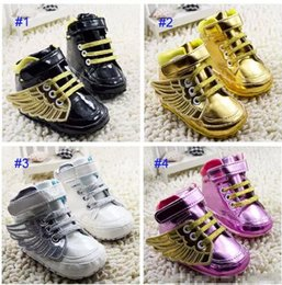Baby Booties Canvas Canada - Baby Angel wings modeling booties toddler shoes 2017 new children lovely cartoon gold Pure cotton baby First Walker Shoes 4 Color