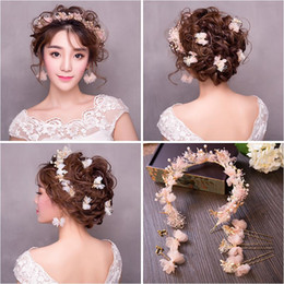 $enCountryForm.capitalKeyWord Australia - Woman headdress hair Lomen bride nine piece Korean headdress Dragonfly silk yarn hoop earrings are 154067 wedding flower ring