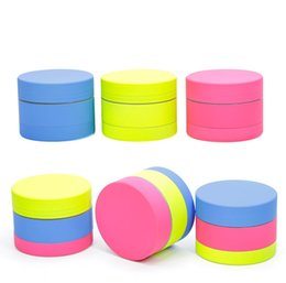 shredder grinder NZ - 3 part coated silicone 40mm zinc alloy metal cigarette tobacco grinder hand muller blue yellow pink colorized herb grinder smash shredder