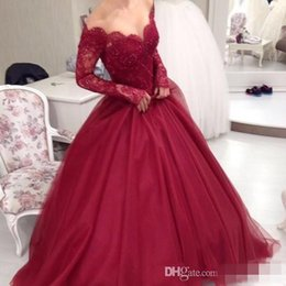 purple ball gown prom dresses 2020 - New Burgundy Off The Shoulder Long Sleeves Lace Ball Gown Evening Dresses Tulle Applique Beaded Floor Length Party Prom