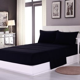 Extra long shEEts online shopping - MEILUO New Solid Black Microfiber Fabric Bedding Set Flat Sheet Fitted Sheet Pillow Cases For Full Queen King Double Sizes
