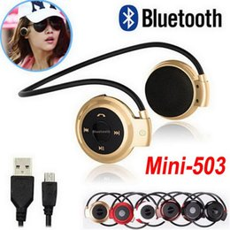 Discount radio dj - Mini 503 Wireless Bluetooth Stereo Headphone Handsfree Neckback Sports Runing Music Earphone Headset Studio Music DJ Mic