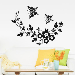$enCountryForm.capitalKeyWord NZ - Free Shipping New Butterfly Flower vine bathroom wall stickers home decoration wall decals for toilet decorative sticker 001