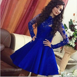 Satin Long Evening Dresses Canada - 2017 Royal Blue Lace Short Prom Dresses With Sheer Long Sleeves High Neck Satin A Line Dubai Short Evening Party Gowns For Graduacion