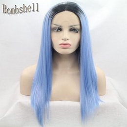 $enCountryForm.capitalKeyWord NZ - Two Tone Color Black ombre Sky Blue Synthetic Lace Front Wigs Glueless Futura Heat Resistant For Black Women