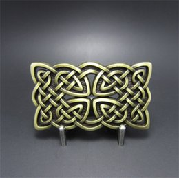 knot belt NZ - New JEAN'S FRIEND Original Vintage Bronze Rectangle Cross Celtic Knot Western Belt Buckle Gurtelschnalle BUCKLE-WT133AB Brand New Free Ship