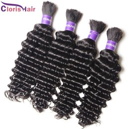 Discount cheap brazilian deep wave hair Top Deep Wave Braiding Human Hair Bulk For Micro Braid No Weft Cheap Unprocessed Deep Curly Peruvian Hair Weave Bundles