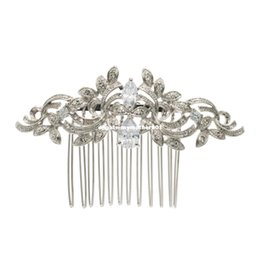 $enCountryForm.capitalKeyWord UK - Vintage Silver Plated Women Hairpins Rhinestone Crystals Hair Combs Bridal Wedding Hair Jewelry Accessories 4012r