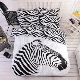 Print Duvet NZ - 100 Cotton zebra Bedding Sets Black White Print Duvet Cover flat sheet Pillowcases Twin Full Queen King Size