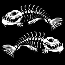 Discount stylish stickers cars - 21.6*18.7CM 1Pair Skeleton Fish Door Decoration Decals Classic Stylish Car Styling Stickers Accessories C6-0619 wholesal