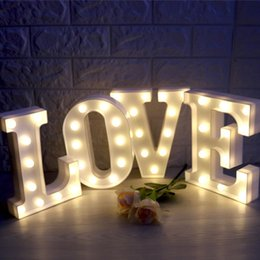 Discount emergency lights batteries - Fashion LED Marquee Letter Lights 3D DIY Alphabet Light Up Sign for Wedding Brithday Home Party Bar Decoration Battery P