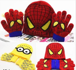 $enCountryForm.capitalKeyWord Canada - Children Boys Girl Spider-man Knitted Crochet Beanies Cap Hats Sets Baby Cartoon Kids Winter Warm Gloves 1-5Years XMAS Gifts