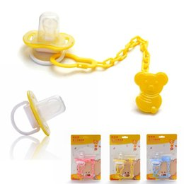 Cadena Dummy Al Por Mayor Baratos-Top-Top Silicona Nipple Baby Dummy Soother Cute Niño Pacy Ortodoncia Pezones Teether con cadena de chupete Pacifier Baby Care R2