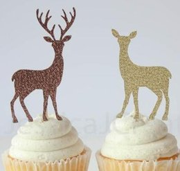 Glitter Reindeer And Sleigh Christmas Cupcake Toppers Party Bachelorette Birthday Wedding Bridal Shower Night Food Picks Bands Without Stones